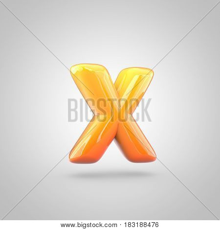 Glossy Orange And Yellow Gradient Paint Alphabet Letter X Lowercase Isolated On White Background