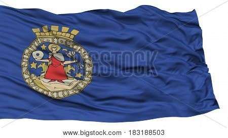 Isolated Oslo City Flag, Capital City of Norway, Waving on White Background, High Resolution