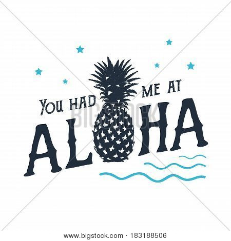Hand drawn label with textured pineapple vector illustration and