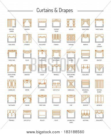Different window drapes valances curtains blinds. Lambrequins and shades. Home decor elements. Line icon set. Vector illustration.