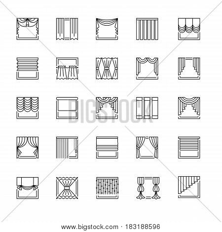 Vector line icons with drapes. Window covering. Different styles of draperies curtains and blinds. Roman french roller pleat japanese threads. Elements for interior decoration.