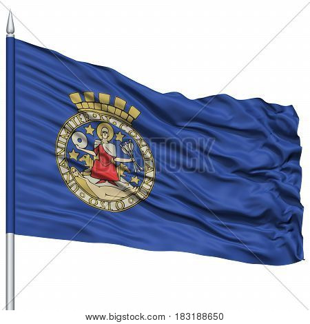 Oslo City Flag on Flagpole, Capital City of Norway, Flying in the Wind, Isolated on White Background