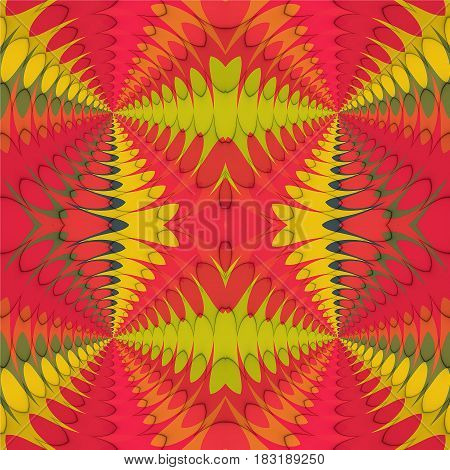 Abstract seamless retro pattern with intertwined pink, green and yellow geometric motifs. Red, orange, green and yellow abstract background with intersecting objects