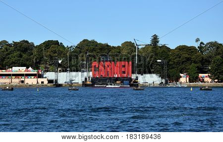 Sydney Australia - Apr 23 2017. Bizet's Carmen opera was performed by Handa Opera on Sydney Harbour.