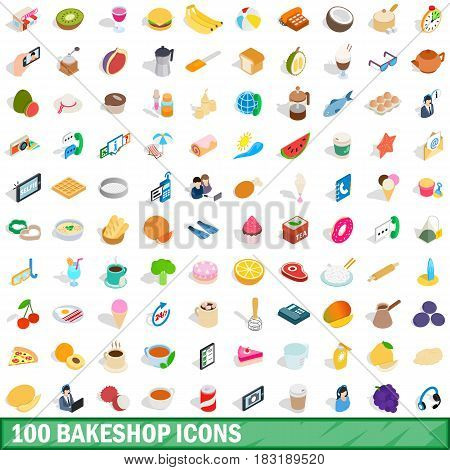 100 bakeshop icons set in isometric 3d style for any design vector illustration