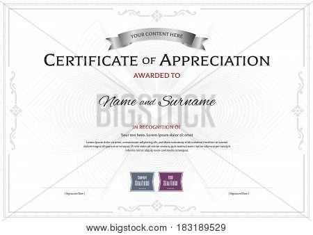 Certificate of appreciation template with award ribbon on abstract flower guilloche background