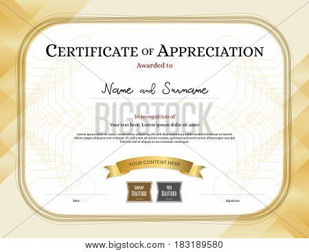 Certificate of appreciation template with award ribbon gold tone border