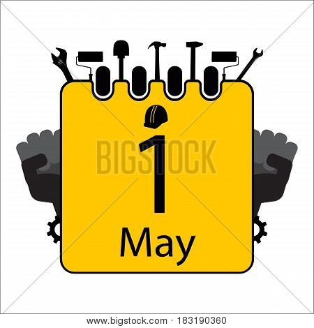 May 1 International Happy Labour Day with calendar