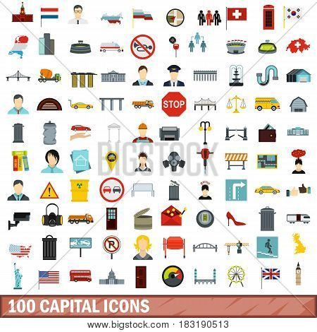 100 capital icons set in flat style for any design vector illustration