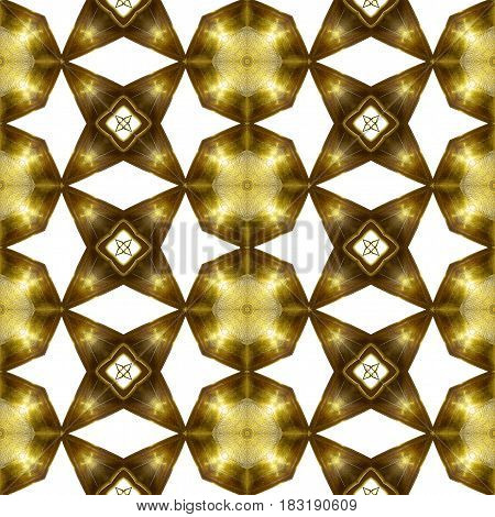 Abstract seamless pattern of gold stars and round plates. Shiny metal background of stars and circular geometric shapes