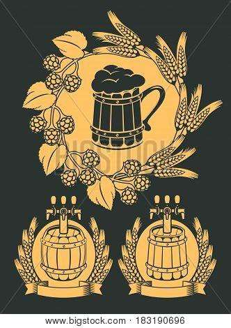 set of vector emblem for beer on tap with wooden mug beer barrels and wreaths
