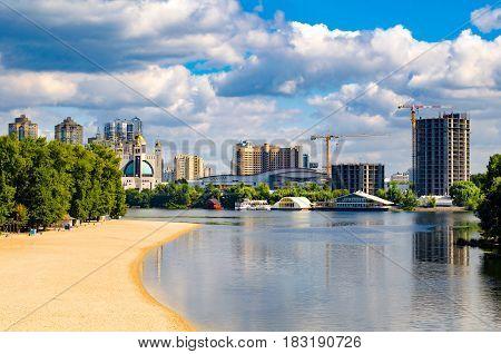 View of Kiev Ukraine. Banks of the Dnieper river