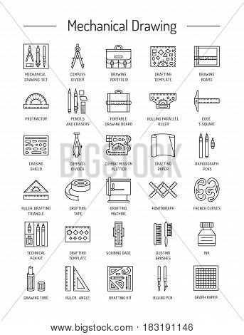 Drafting tools icon collection. Technical drawing. Line icons set. Drafting kit ruler drawing board protractor tape mechanical pencil ink divider compass. Mechanical drawing instruments. Vector illustration.