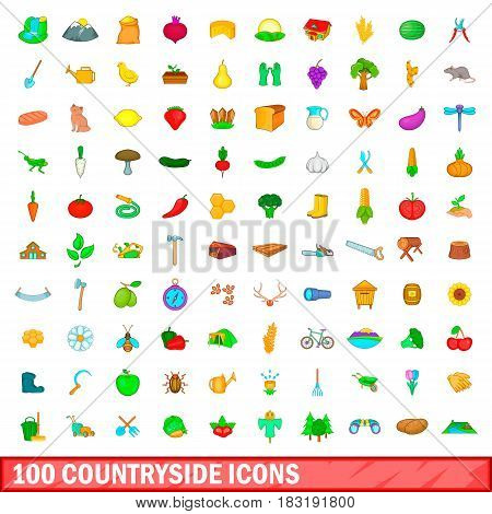 100 countryside icons set in cartoon style for any design vector illustration