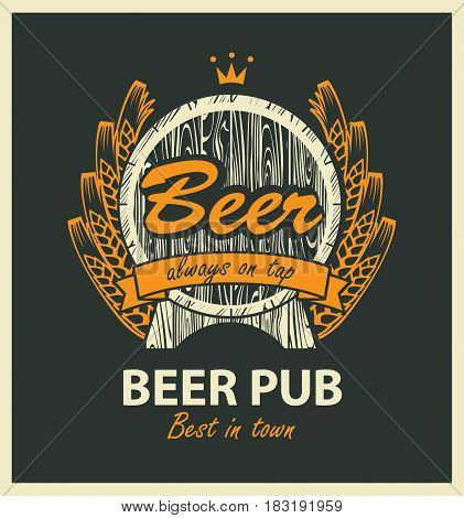 template vector beer pub label with wooden barrel coat of arms ears of wheat ribbon and crown in retro style