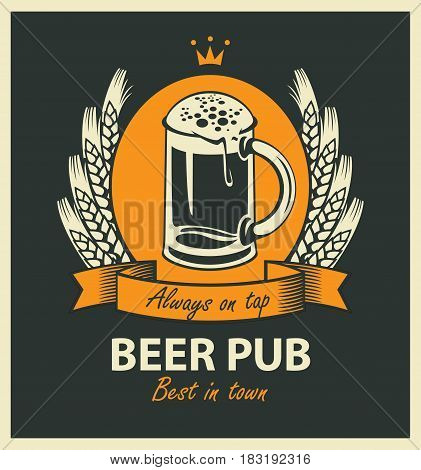 template vector beer pub label with beer glass coat of arms ears of wheat ribbon and crown in retro style