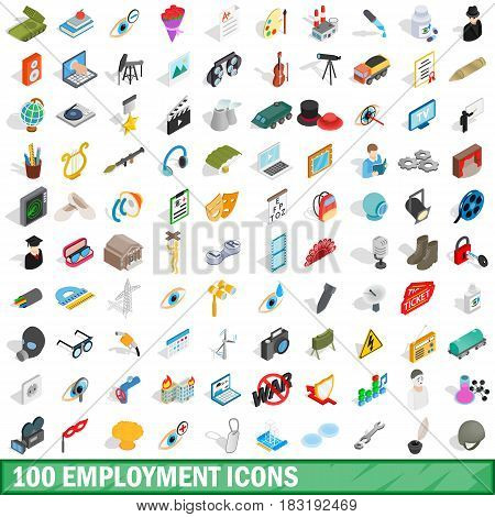 100 employment icons set in isometric 3d style for any design vector illustration