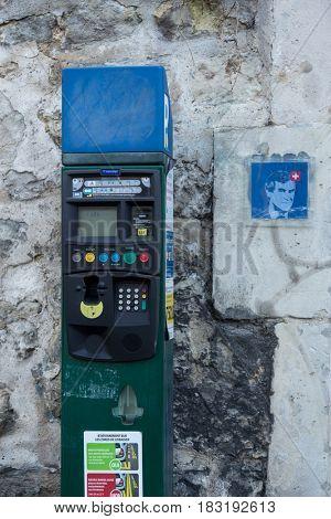 Paris, France, March 26, 2017: ticket machine at the exit of a car park.