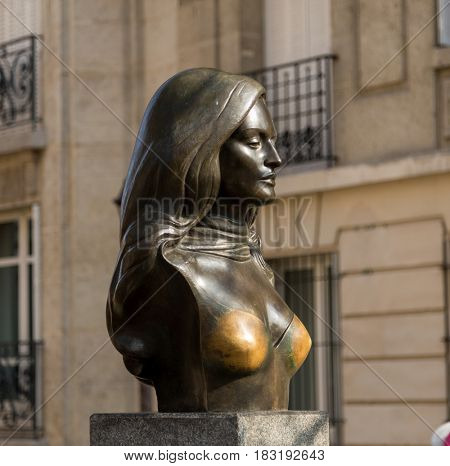 Paris, France, March 26, 2017: Bronze bust of singer, actress Dalida