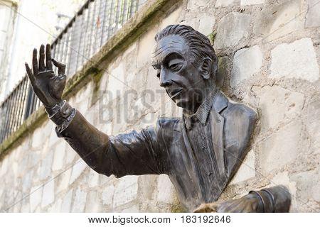 Paris, France, March 26, 2017: Jean Marais sculpture
