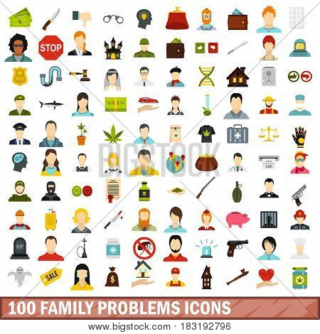 100 family problems icons set in flat style for any design vector illustration