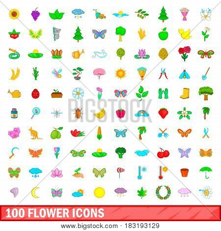 100 flower icons set in cartoon style for any design vector illustration