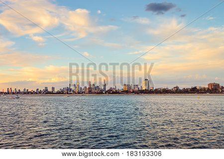 Melbourne city skyline viewed from St. Kilda beach