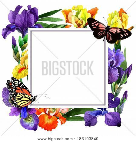 Wildflower iris flower frame in a watercolor style isolated. Full name of the plant: irises. Aquarelle wild flower for background, texture, wrapper pattern, frame or border.