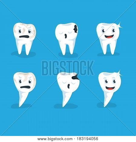 Set vector illustration healthy and caries human teeth blue background. Dental tooth. Crooked teeth. Human tooth. Cheerful and sad tooth. Character smiling and sad teeth on blue background