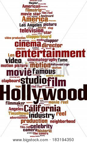 Hollywood word cloud concept. Vector illustration on white