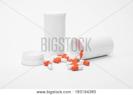 Orange Pills On A White Background, Medical Pills