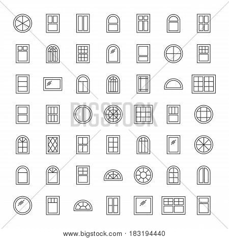 Windows. Architecture elements. Line icons isolated on white background. Traditional french arch and round window frames