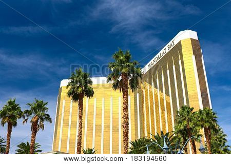 Las Vegas, USA - OCT 9 ,2016:Mandalay Bay in Las Vegas. Mandalay Bay Resort and Casino in Las Vegas offers unmatched luxury, fine dining, renowned entertainment, personal service.