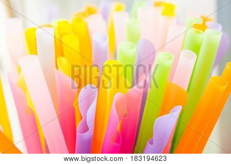Straw colorful background , straw use for drink