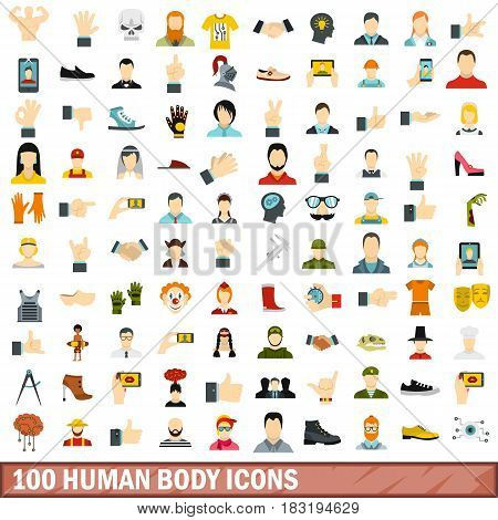 100 human body icons set in flat style for any design vector illustration