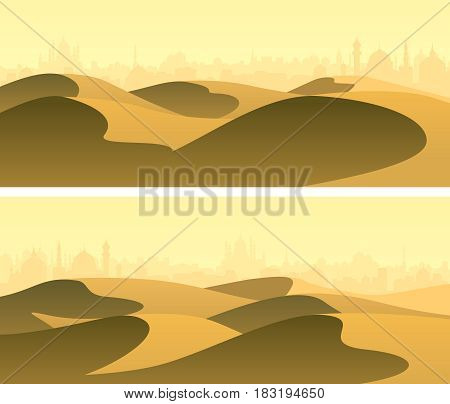 Set of horizontal wide banners sandy desert barchans with city on horizon.