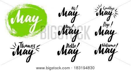 Hello - bye May spring calligraphic set. Vector isolated illustration: brush calligraphy, hand lettering. For calendar, schedule, diary, journal, postcard, label, sticker and decor