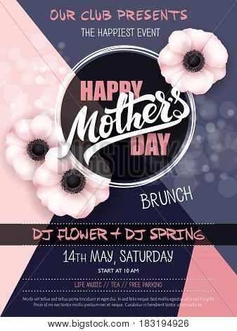 vector hand drawn mothers day event poster with blooming anemone flowers hand lettering text - mothers day and luminosity flares.