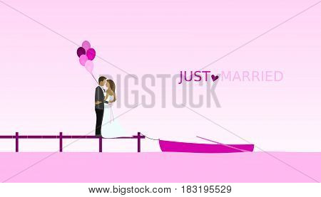 Just married - wedding. Bridal couple on footbridge at a lake with boat and balloons. Pink shade.