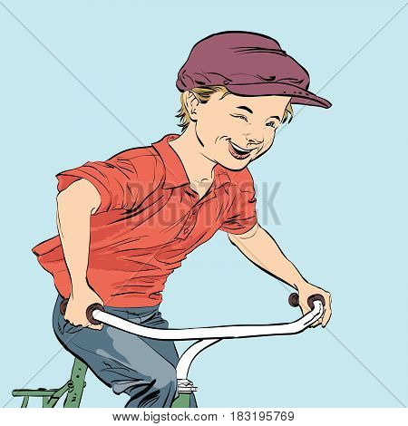 Country boy biker. Caricature cartoon style hand drawn color illustration