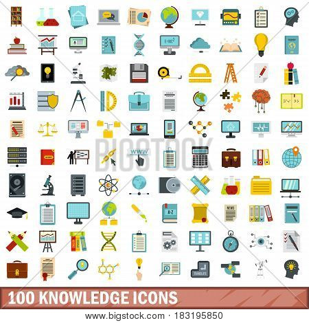 100 knowledge icons set in flat style for any design vector illustration