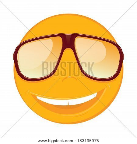 Fun smiley with sunglasses on white background. Vector illustration.
