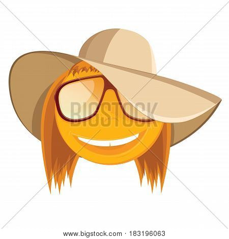 Fun smiley with sunglasses and a beach hat. Vector illustration.