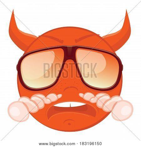 Cute evil emoticon in a sunglasses on white background. Vector illustration.