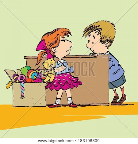 Greedy girl with toy and boy. Caricature cartoon style hand drawn color illustration