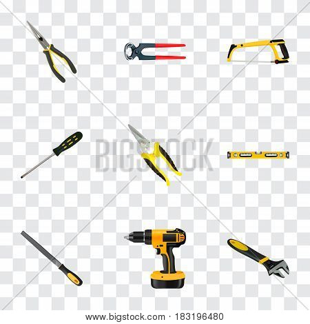 Realistic Sharpener, Arm-Saw, Wrench And Other Vector Elements. Set Of Construction Realistic Symbols Also Includes Clippers, Electric Screwdriver, Tool Objects.