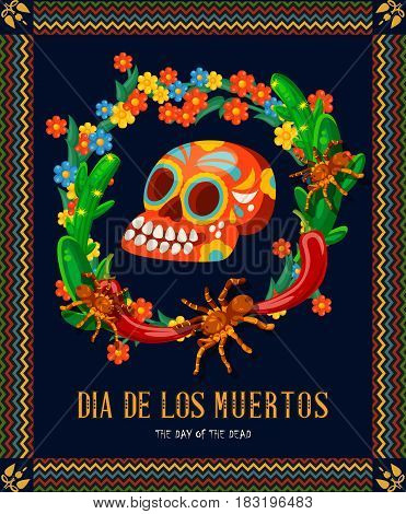 Vector colorful card about Mexico. Travel poster with mexican items. Holidays banner. Day of dead skull. Dia de los muertos. Day of dead