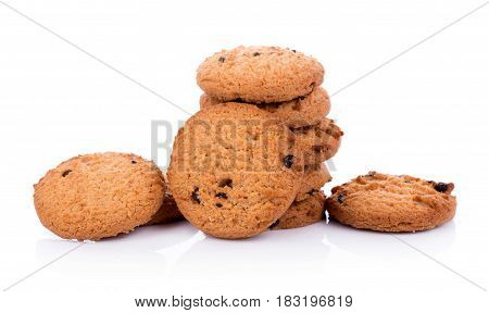 Closeup Chocolate chip cookie on white background