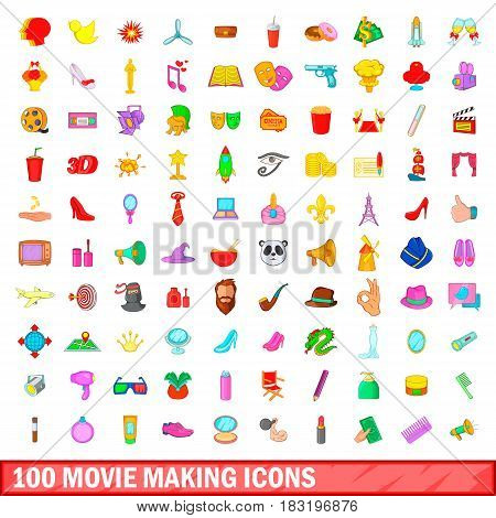 100 movie making icons set in cartoon style for any design vector illustration