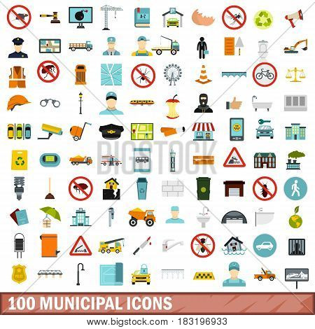 100 municipal icons set in flat style for any design vector illustration